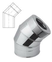 Колено 45° с теплоизоляцией нерж/оцинк для дымохода AISI 201 (0,8 мм)