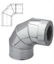 Колено 90° с теплоизоляцией нерж/оцинк для дымохода AISI 201 (0,8 мм)