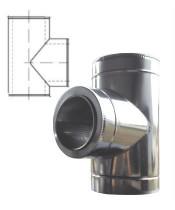 Тройник 90° с теплоизоляцией нерж/оцинк для дымохода AISI 201 (0,8 мм)