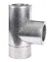 Тройник 90°C с теплоизоляцией нерж/оцинк для дымохода AISI 304 (0,8 мм)